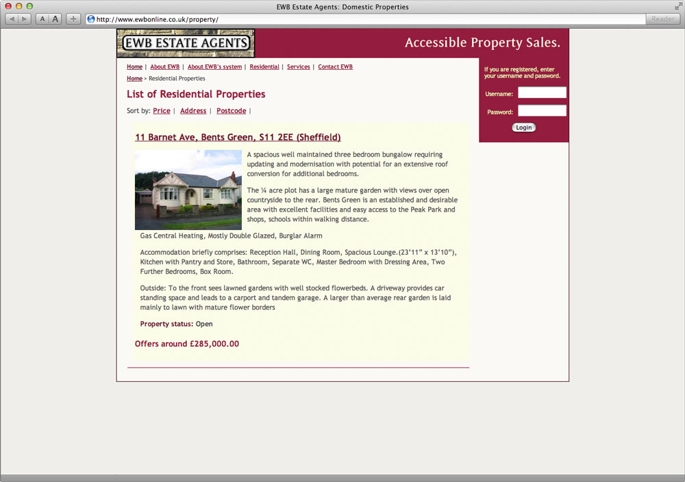 EWB Estate Agents Website