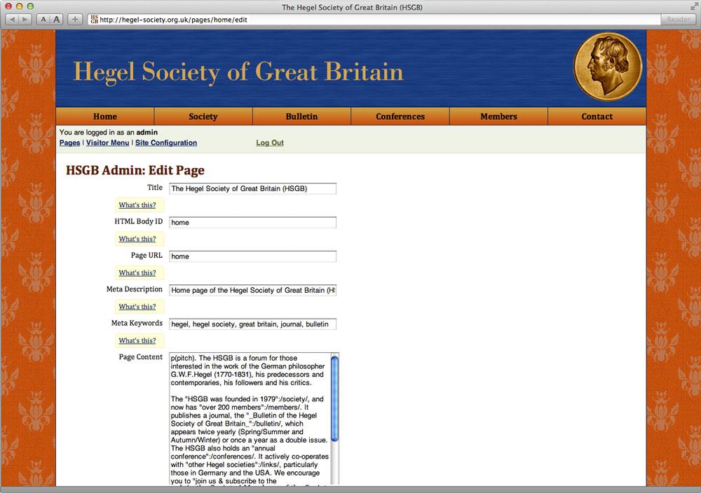 Hegel Society: Edit View
