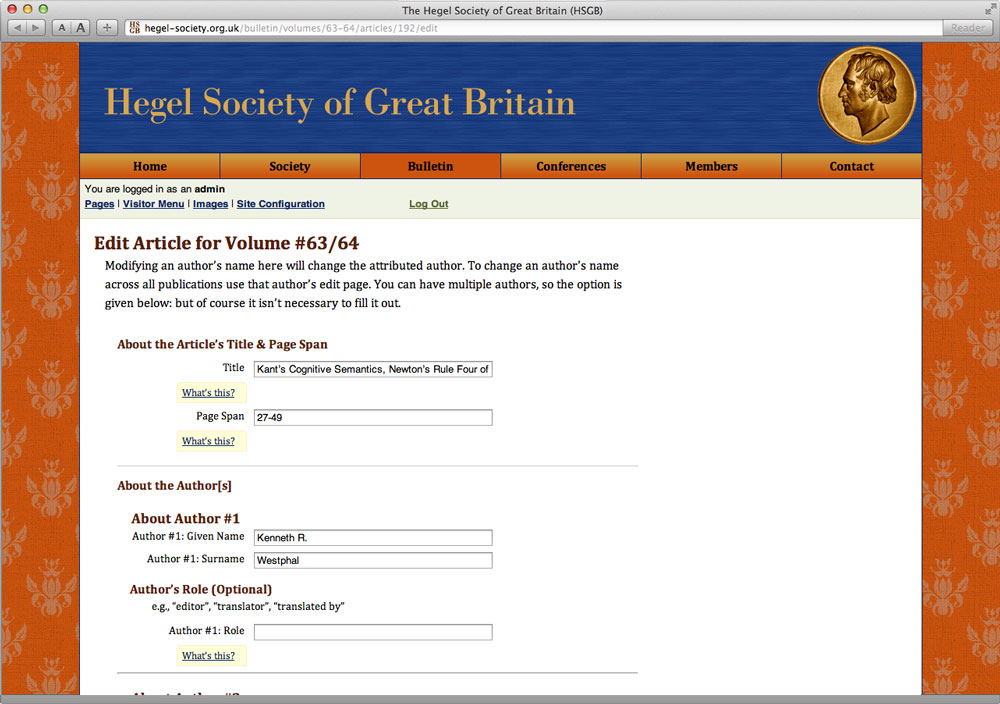 Hegel Society: Journal Edit View