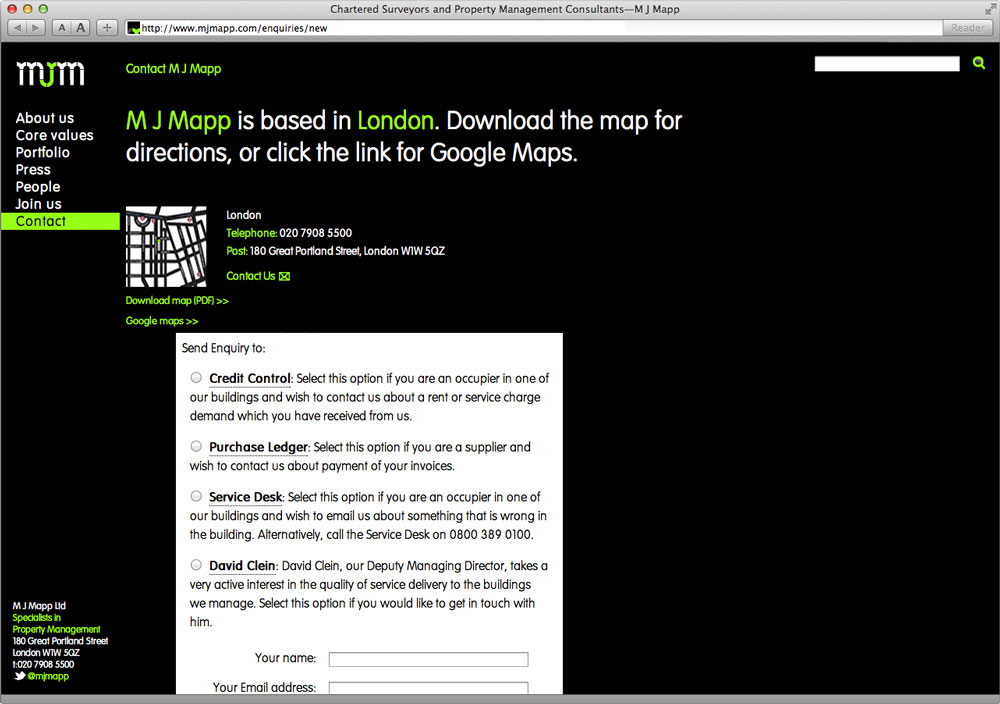 MJMapp Website Contact Page