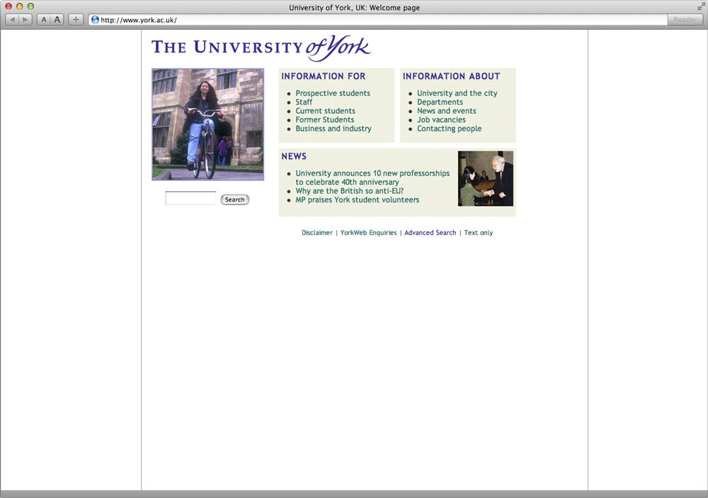 University of York Website Homepage